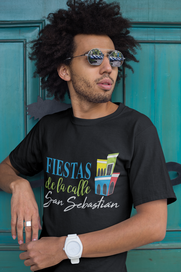 Fiestas de la Calle San Sebastian Short Sleeve T-Shirt with Old San Juan Houses