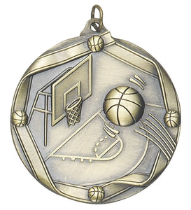 "Basketball 2 1/4"" Die Cast Medal"