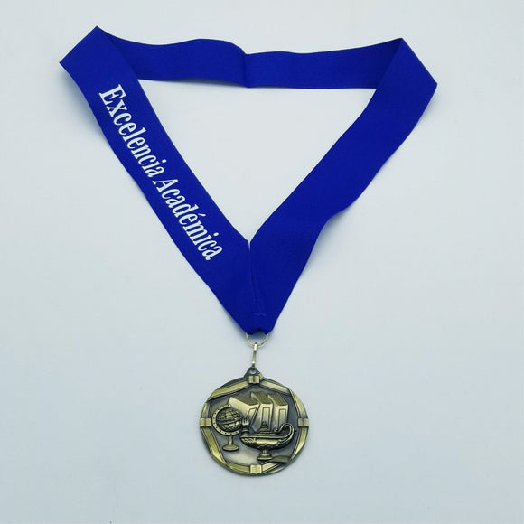 Lamp of knowledge Medal with Engraved Ribbon