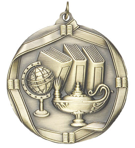 "Lamp of Knowledge 2 1/4"" Die Cast Medal"