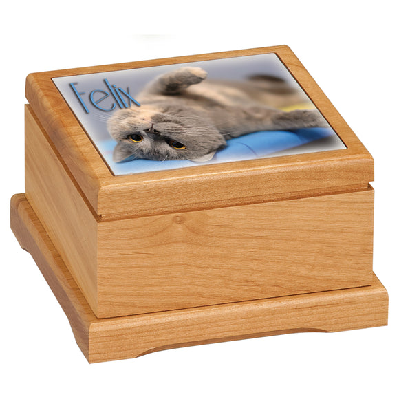 Pet Urn with Picture Sublimated Ceramic Tile