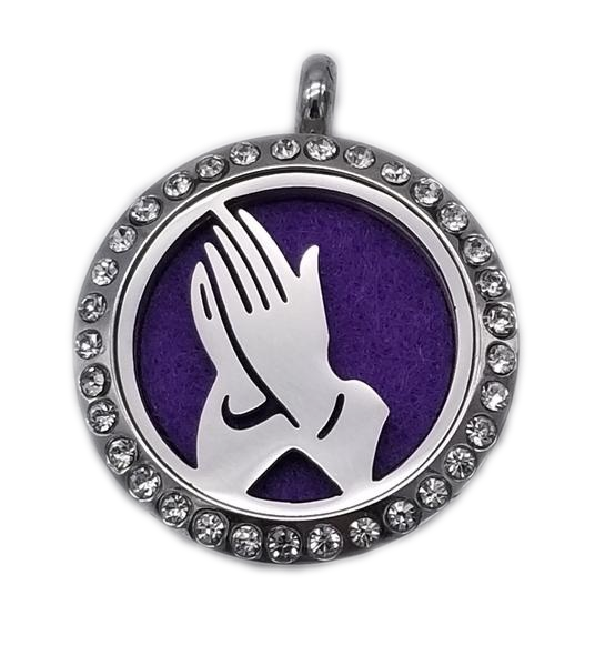 Brand New Praying Hands Aroma Essential Oil Diffuser Locket Pendant