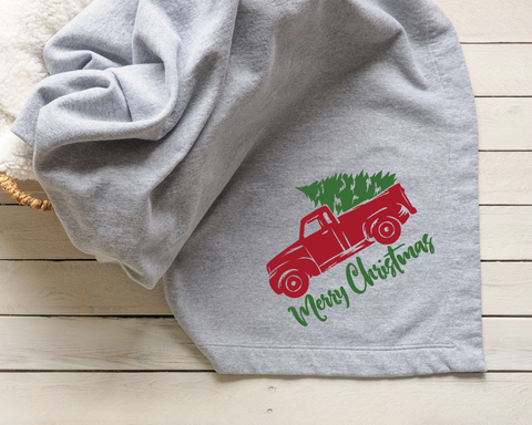 Merry Christmas Red Truck Blanket
