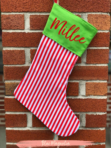 Red & White Striped Stocking