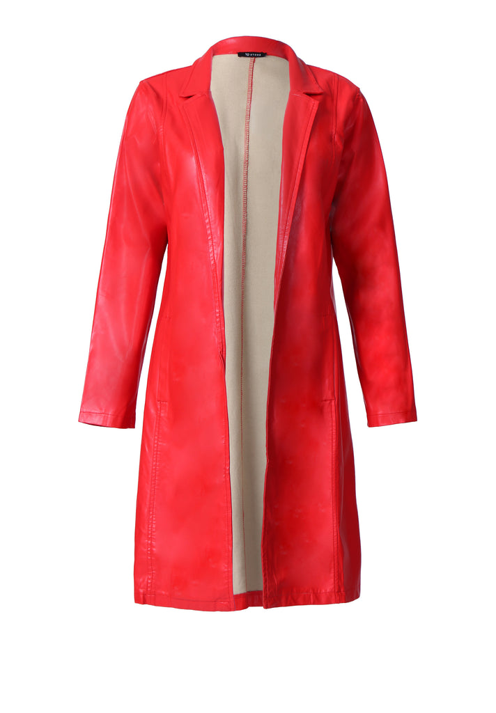 SP0123-RED LONG SLEEVE LEATHERETTE JACKET view main view