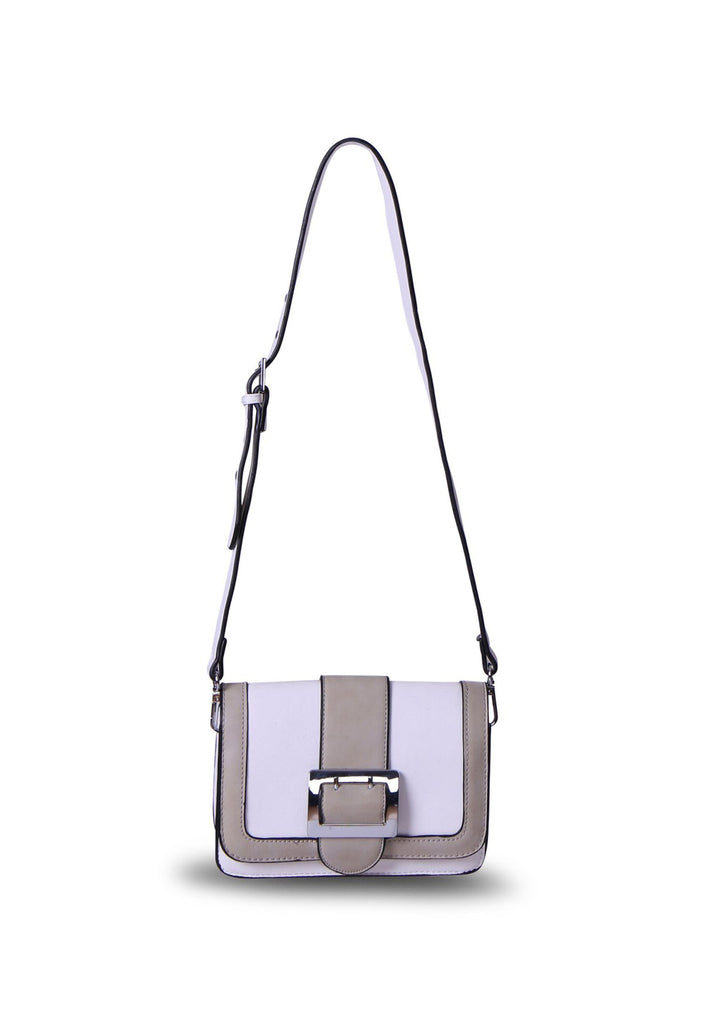 SMB0395-WHITE BIG BUCKLE TWO TONE CROSSBODY BAG view main view