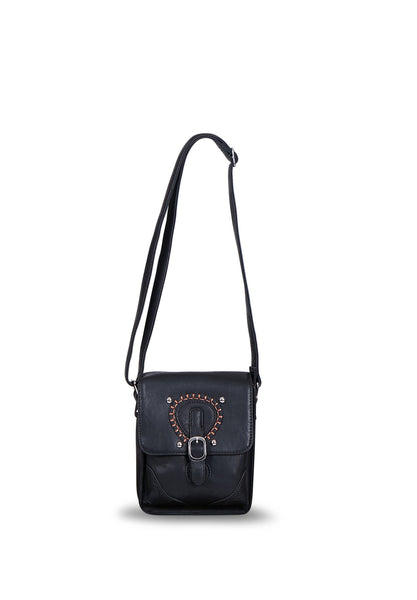 SMB0420-BLACK BLANKET STITCH DETAIL CROSSBODY BAG