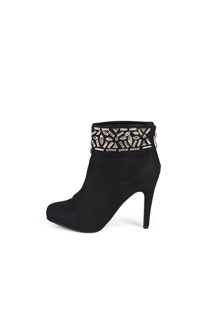 SBA0293-BLACK EMBELLISHED ANKLE BOOTS view 2
