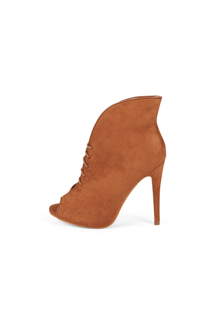 SW0298-TAN PEEP TOE LACE UP ANKLE BOOTS view 3