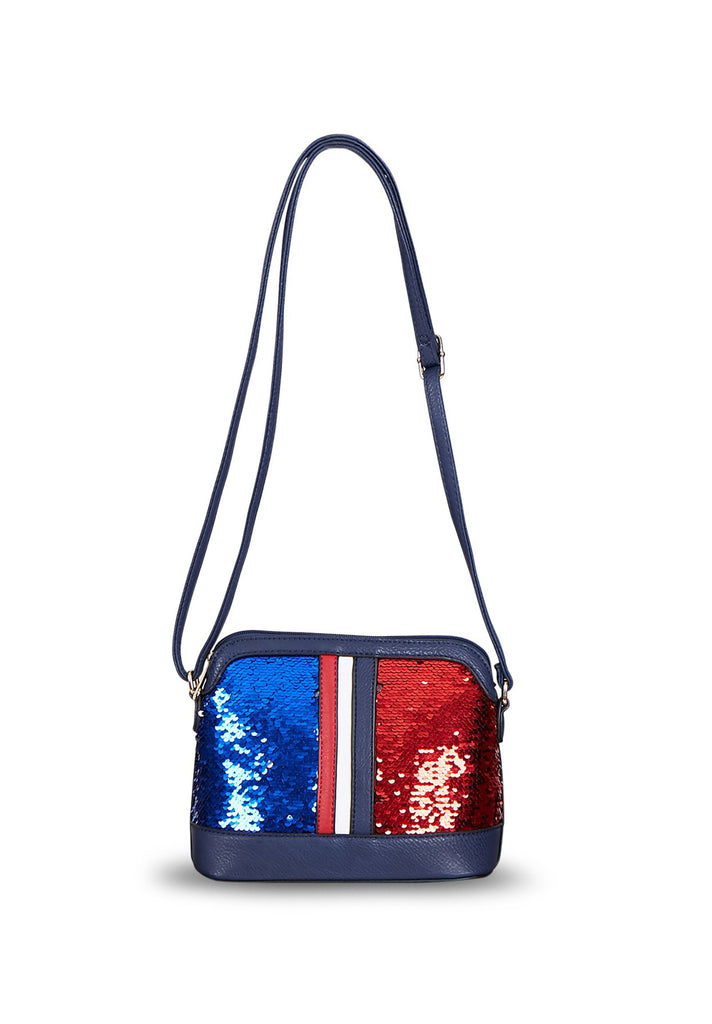 SMB0419-BLUE SEQUIN CROSSBODY BAG view main view