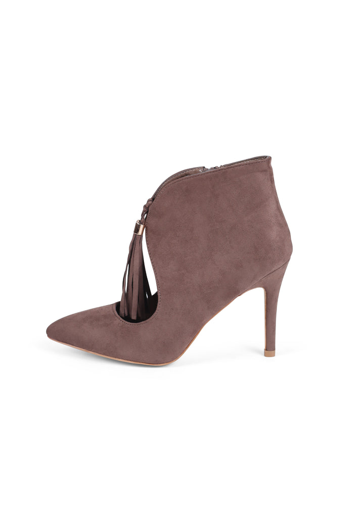 SBA0294-BROWN TASSLE ANKLE BOOTS view 2