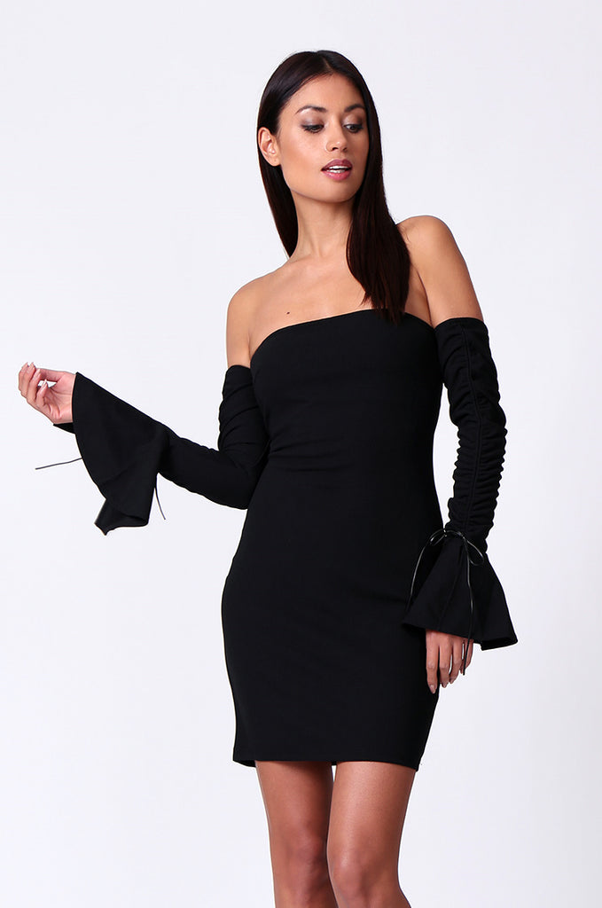 SPF0203-BLACK ROUCHED LONG SLEEVE BANDEAU MINI DRESS