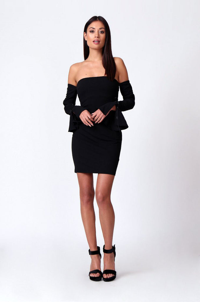 SPF0203-BLACK ROUCHED LONG SLEEVE BANDEAU MINI DRESS view 4