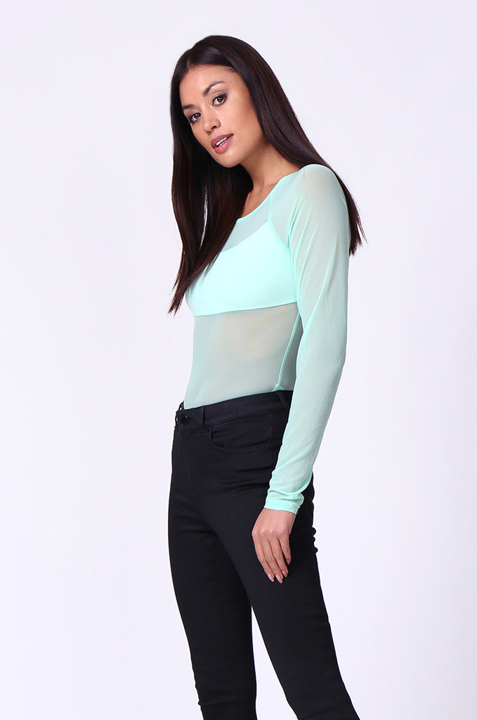 SP0105-GREEN MESH INSET LONG SLEEVE BODYSUIT view 2
