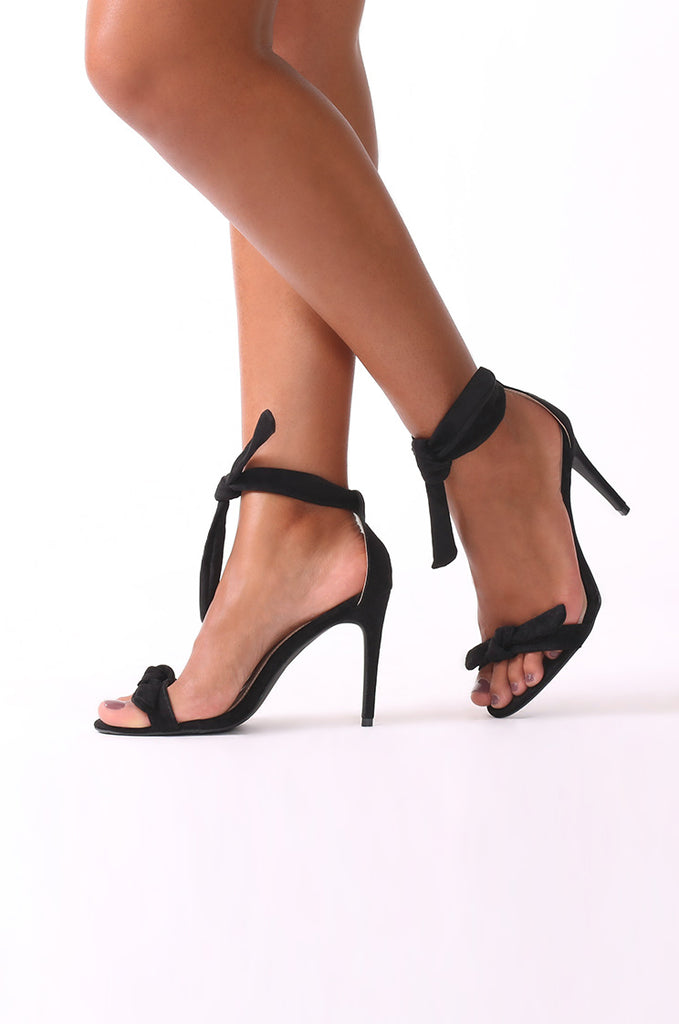 SMJ0045-BLACK SUEDE ANKLE TIE HEELS view main view