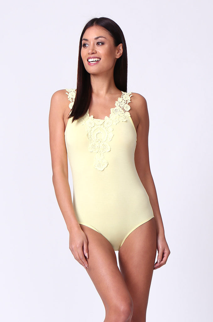 SP0107-YELLOW CROCHET TRIM SLEEVELESS BODYSUIT view 5