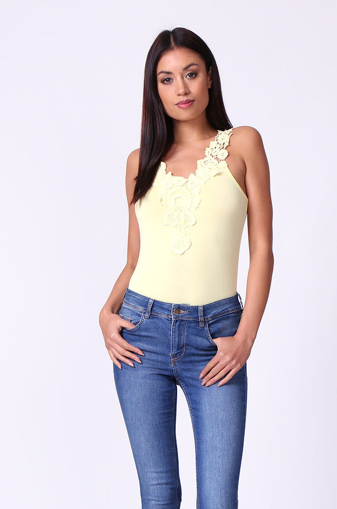 SP0107-YELLOW CROCHET TRIM SLEEVELESS BODYSUIT