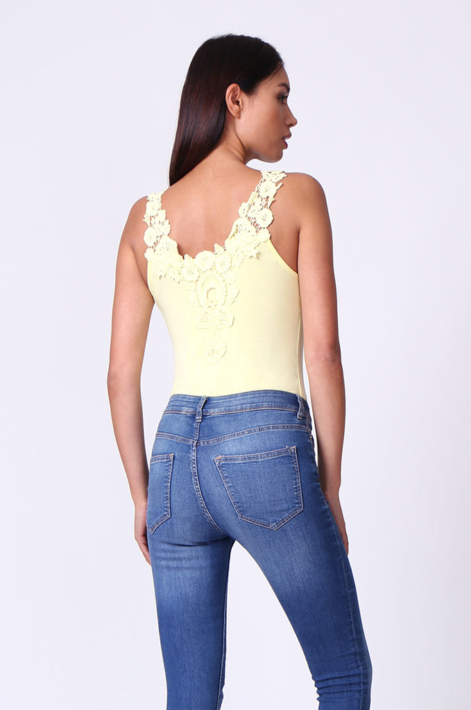 SP0107-YELLOW CROCHET TRIM SLEEVELESS BODYSUIT view 3