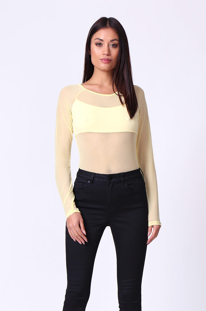 SP0105-YELLOW MESH INSET LONG SLEEVE BODYSUIT