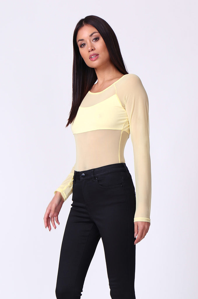 SP0105-YELLOW MESH INSET LONG SLEEVE BODYSUIT view 2