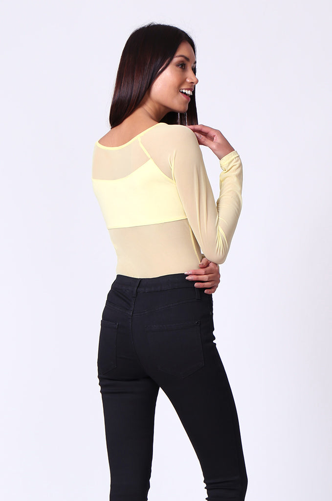 SP0105-YELLOW MESH INSET LONG SLEEVE BODYSUIT view 3