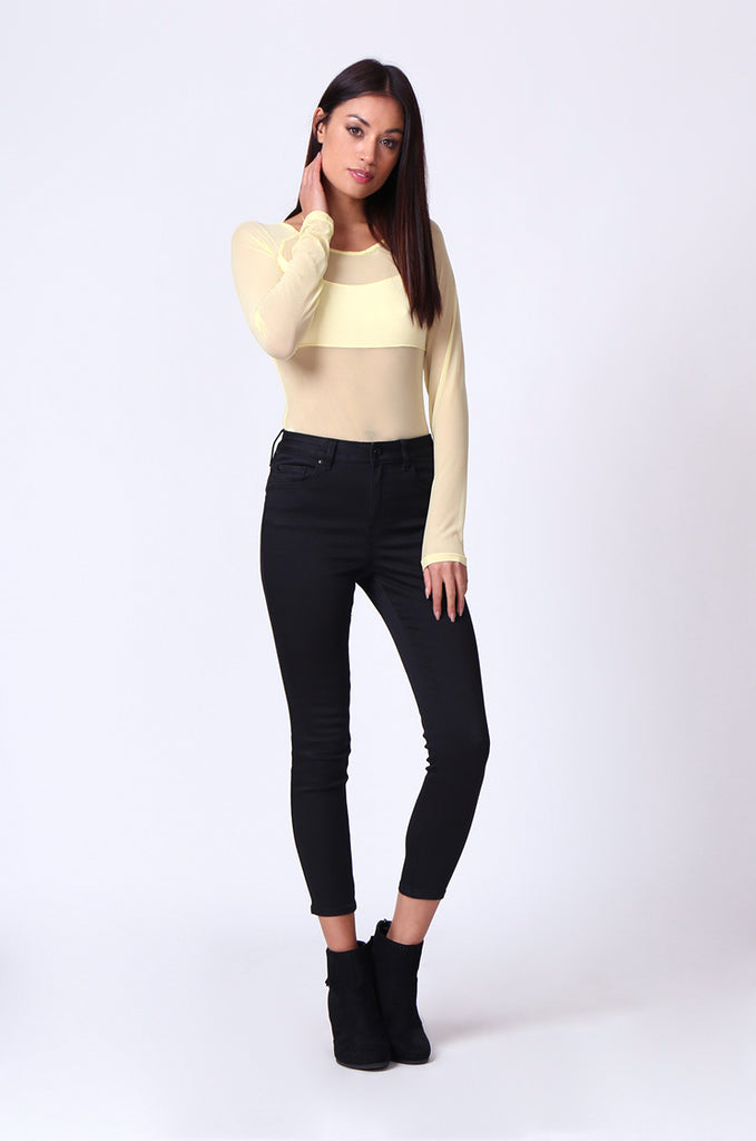 MESH INSET LONG SLEEVE BODYSUIT
