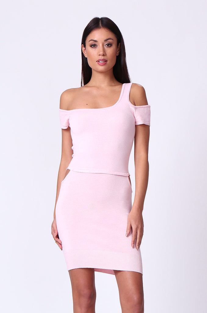 SP0222-LIGHT PINK CUT OUT KNIT MINI DRESS