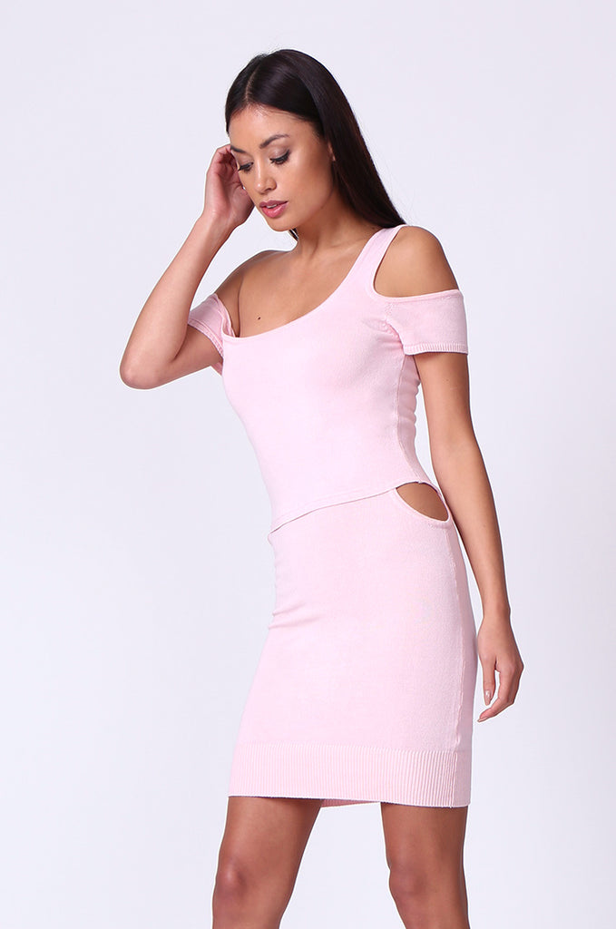 SP0222-LIGHT PINK CUT OUT KNIT MINI DRESS view 2