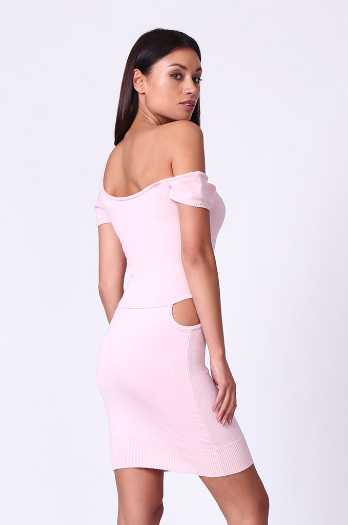 SP0222-LIGHT PINK CUT OUT KNIT MINI DRESS view 3