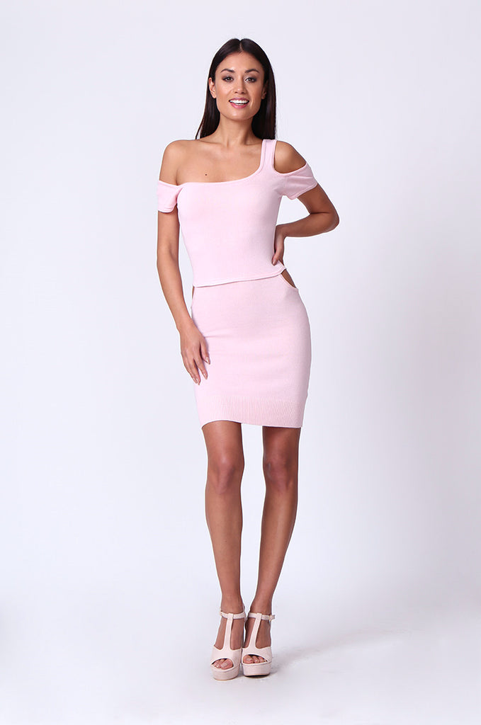 SP0222-LIGHT PINK CUT OUT KNIT MINI DRESS view 4