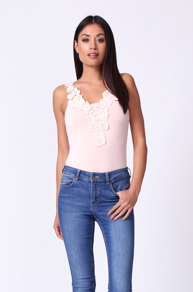 CROCHET TRIM SLEEVELESS BODYSUIT