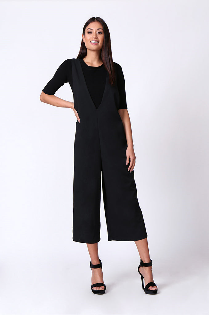 SP0219-BLACK DOUBLE V CULOTTE JUMPSUIT view 4