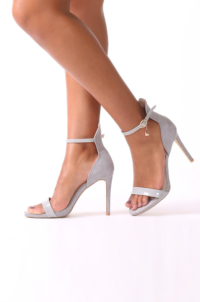 SCM0077-GREY LOCK SINGLE STRAP HEELS