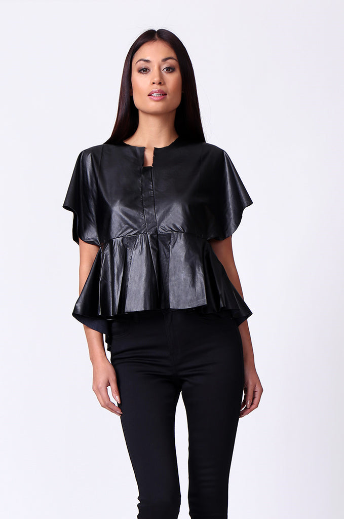 SP0221-BLACK LEATHERETTE PEPLUM TOP view main view