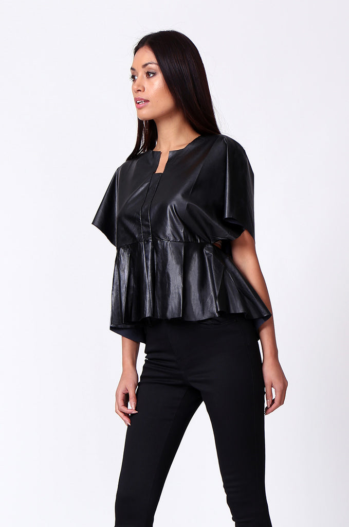 SP0221-BLACK LEATHERETTE PEPLUM TOP view 2