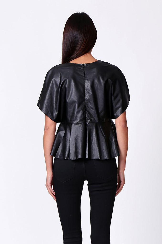 SP0221-BLACK LEATHERETTE PEPLUM TOP view 3