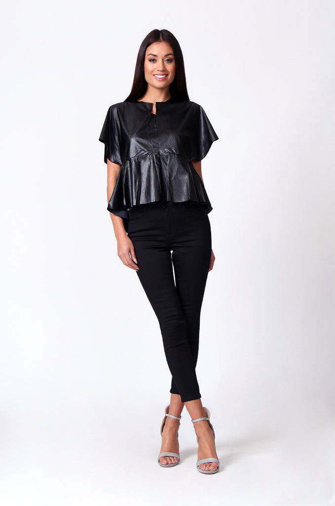 SP0221-BLACK LEATHERETTE PEPLUM TOP view 4