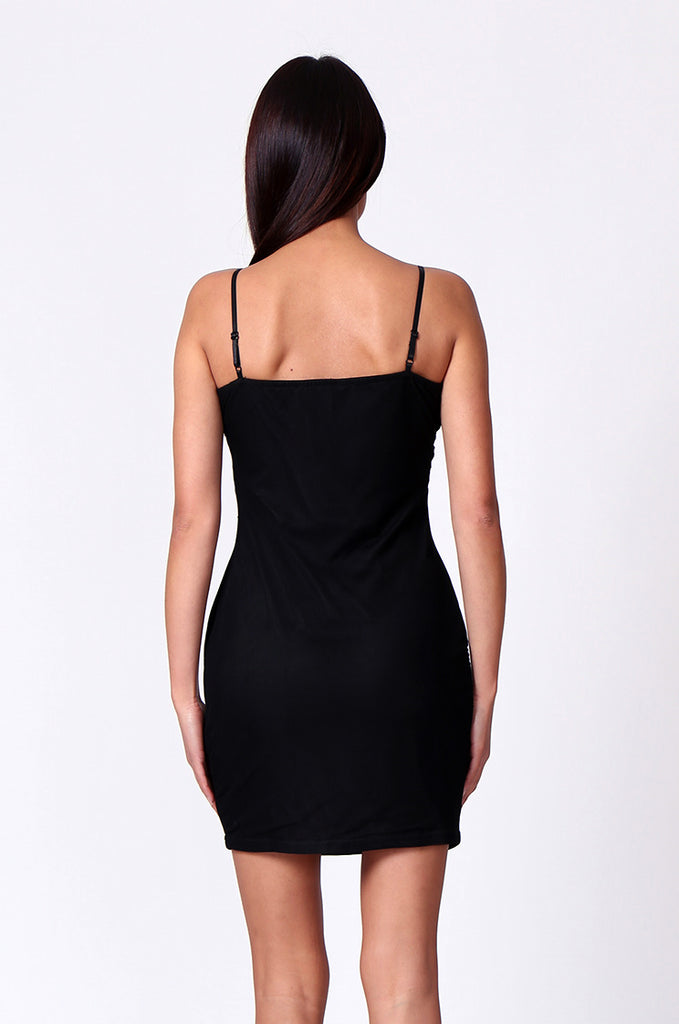 SPF0208-BLACK LACE V-NECK STRAPPY MINI DRESS view 3