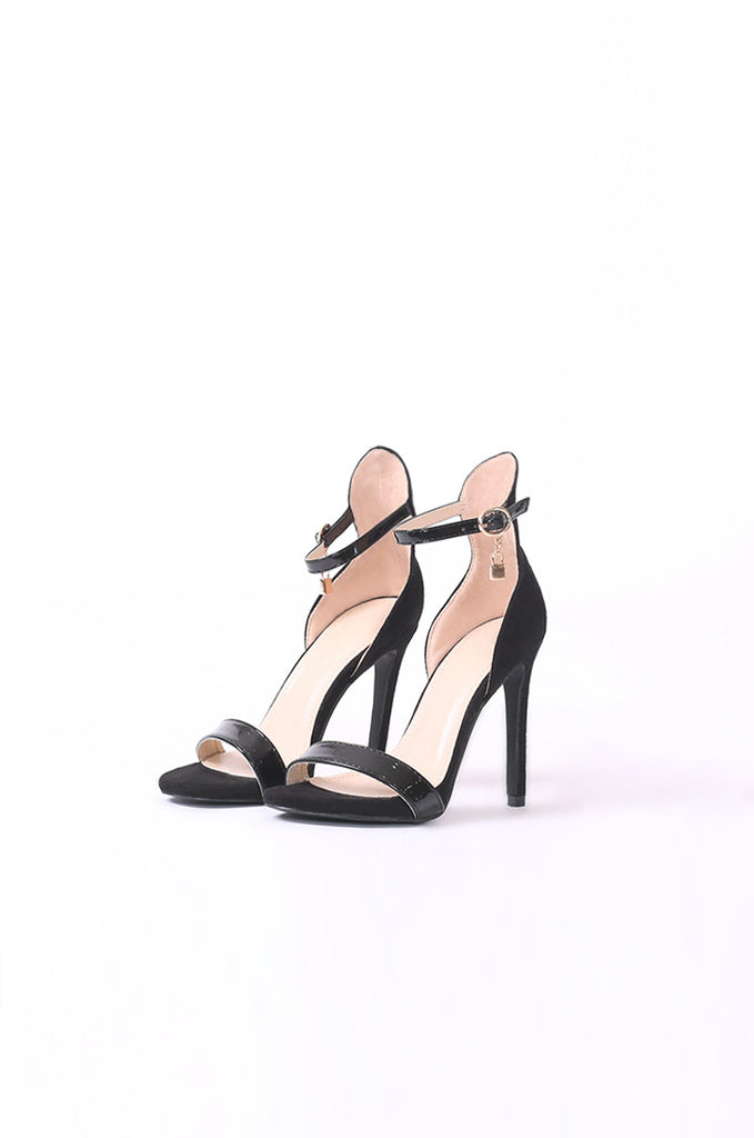 SCM0077-BLACK LOCK SINGLE STRAP HEELS