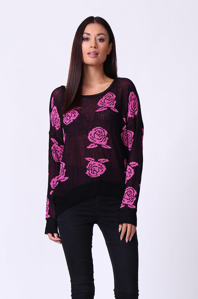 SP0125-RED ROSE PRINT LONG SLEEVE CREWNECK JUMPER