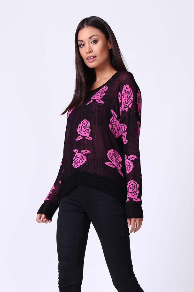 SP0125-RED ROSE PRINT LONG SLEEVE CREWNECK JUMPER view 2