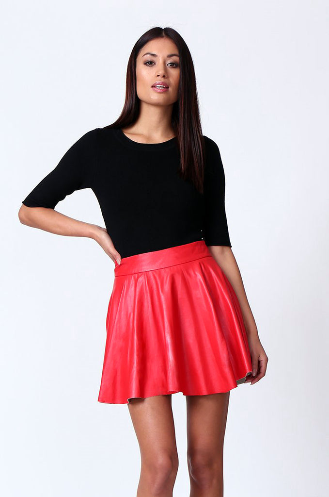 SP0120-RED LEATHERETTE SKATER SKIRT view main view