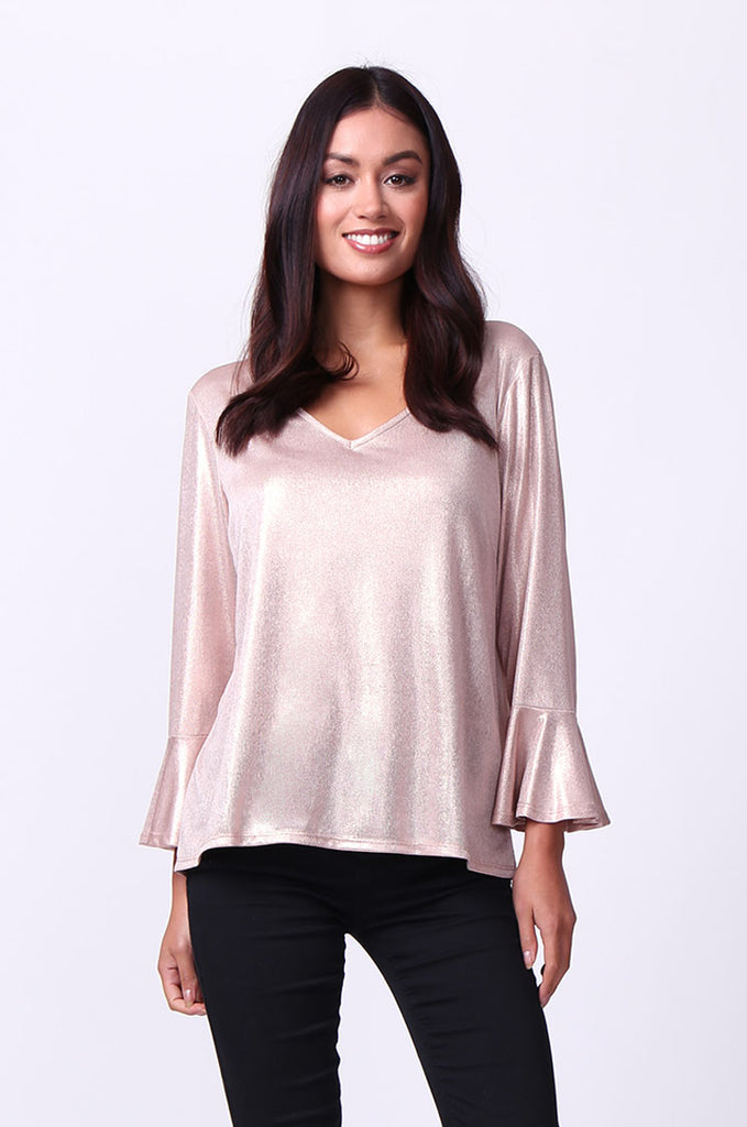 SC0004-PINK METALLIC FLUTED SLEEVE TOP view main view