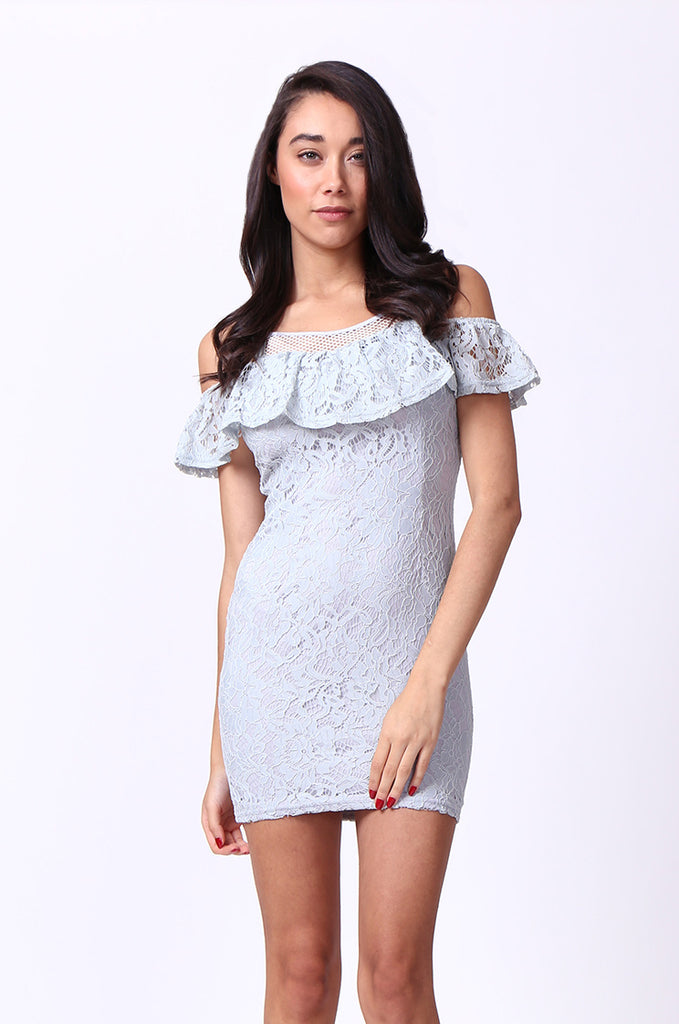 SPF0014-GREY LACE MINI DRESS