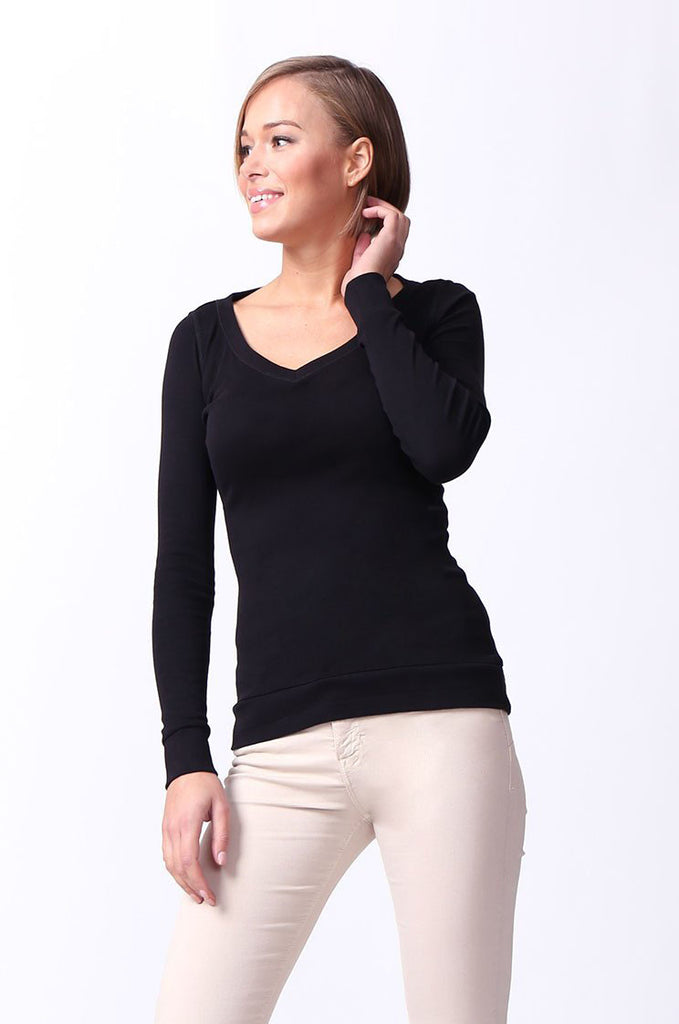 SF0064-BLACK BASIC V-NECK LONG SLEEVE TEE