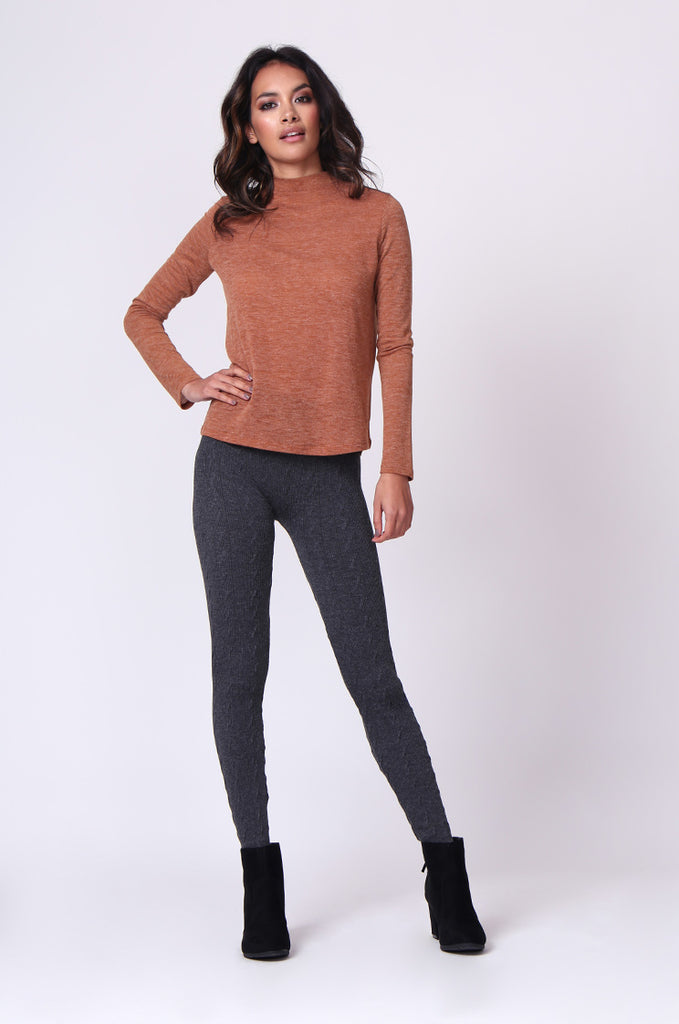 SP0126-GREY BASIC CABLE KNIT LEGGING