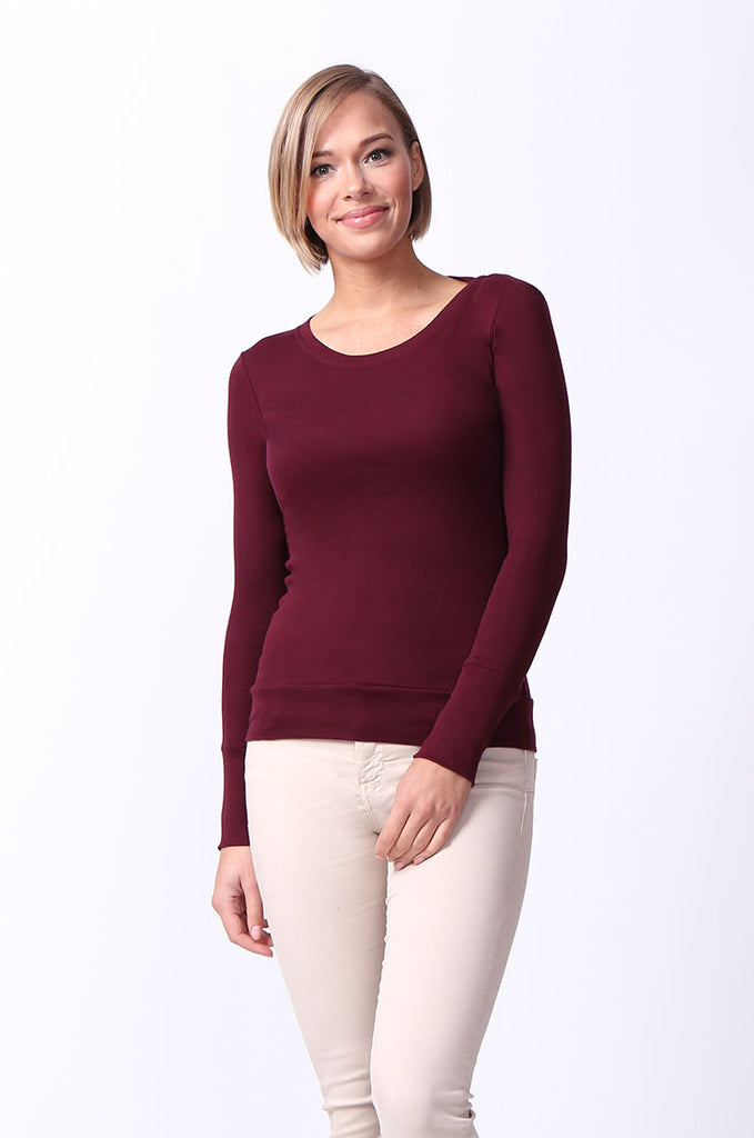 SF0063-MAROON BASIC SCOOP NECK LONG SLEEVE TEE view main view