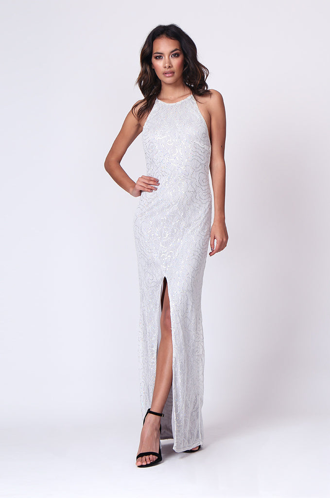 SPF0264-SILVER SEQUIN STRAPPY MAXI DRESS view main view