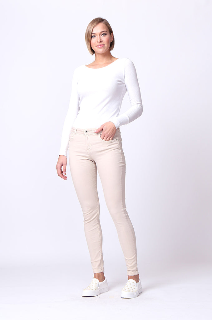 SF0027-BEIGE TWIL SKINNY JEANS view main view
