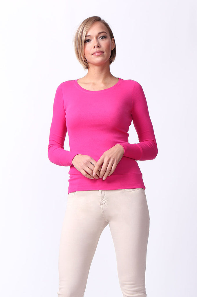 SF0063-PINK BASIC SCOOP NECK LONG SLEEVE TEE view main view